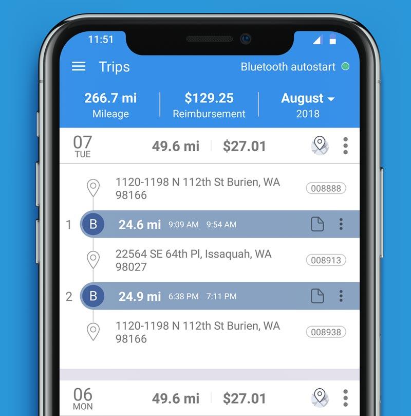 Triplog app on iPhone X screen