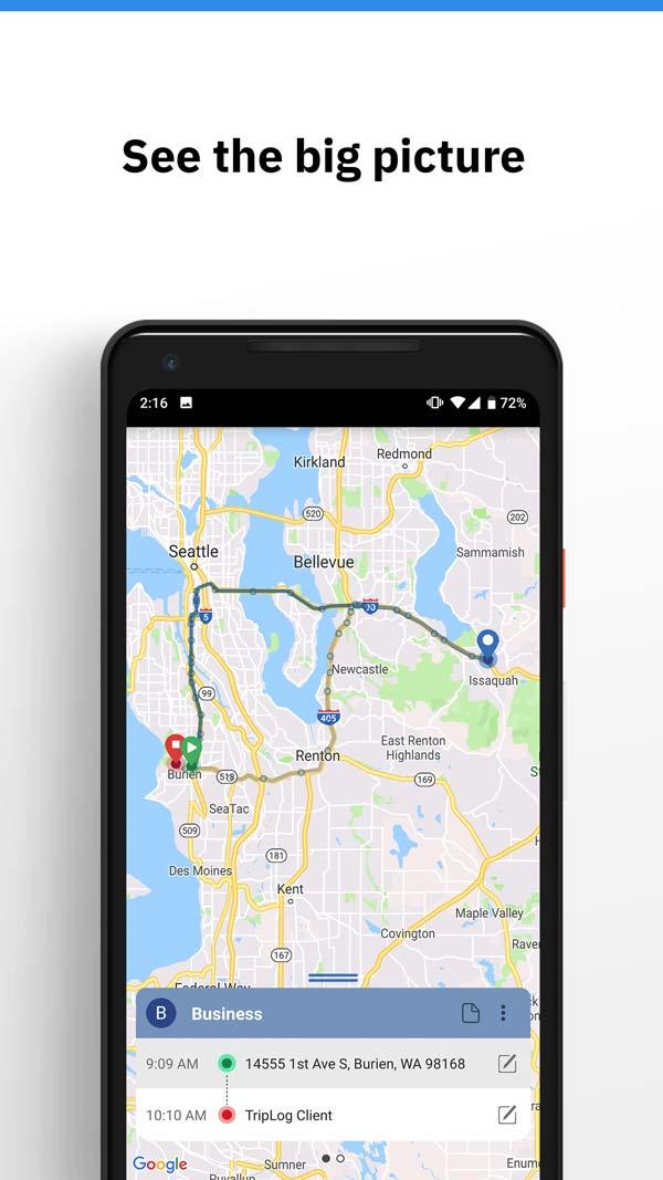 triplog mielage app route planning