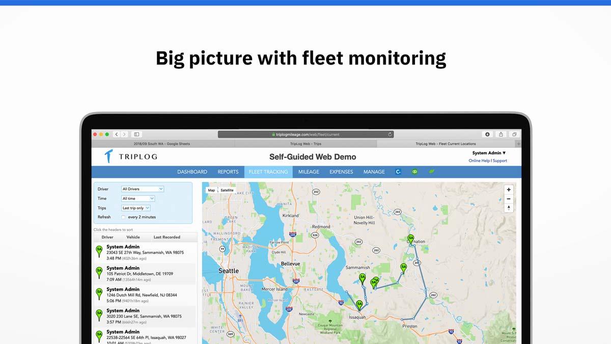 triplog mileage app fleet tracking