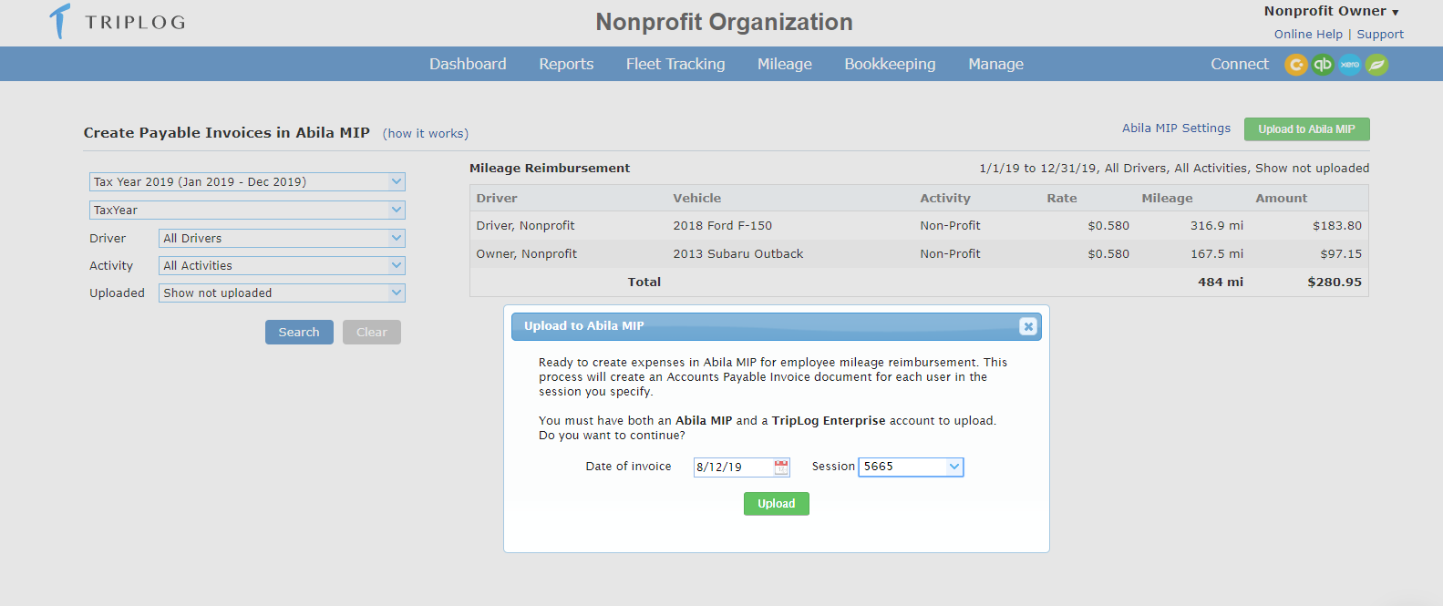 Triplog Integration with Abila MIP Fund Accounting software