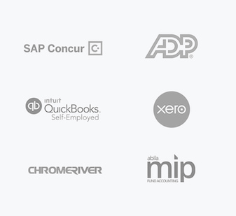 Triplog integrates with QuickBooks, Xero, SAP Concur, ADP, Chromeriver, & mip fund accounting services.