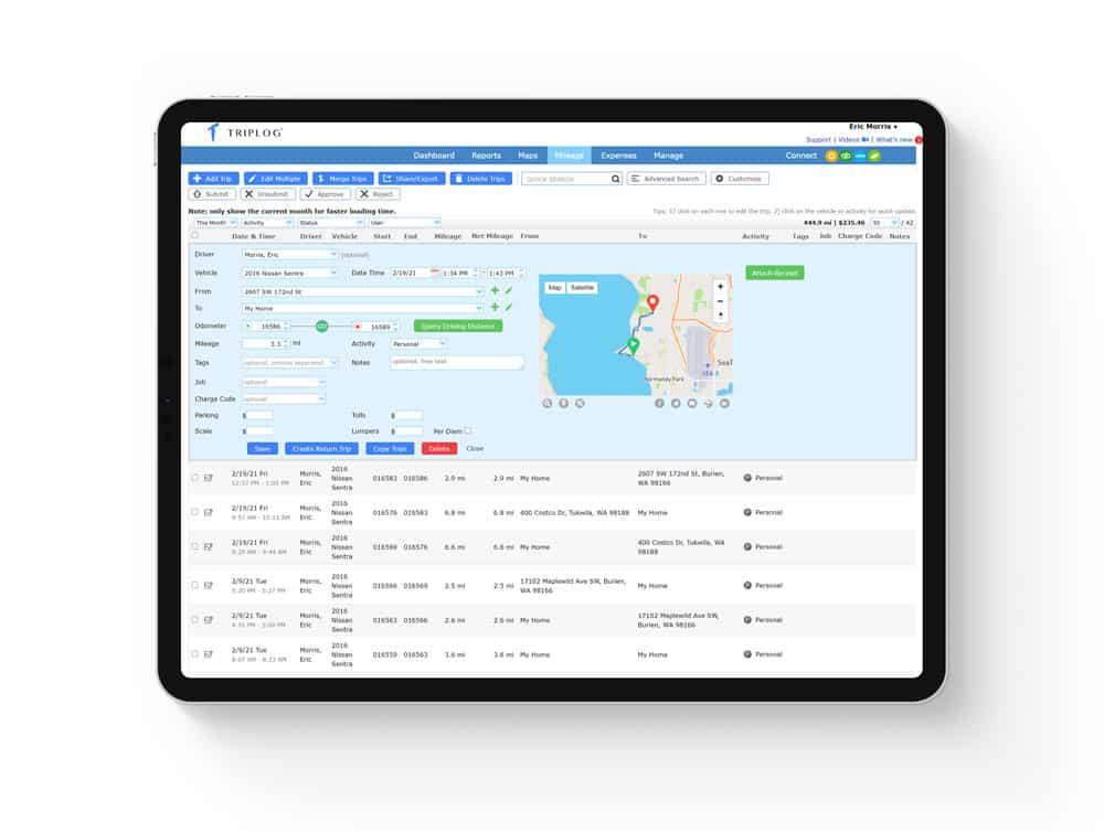 triplog admin web dashboard business enterprise company oversight