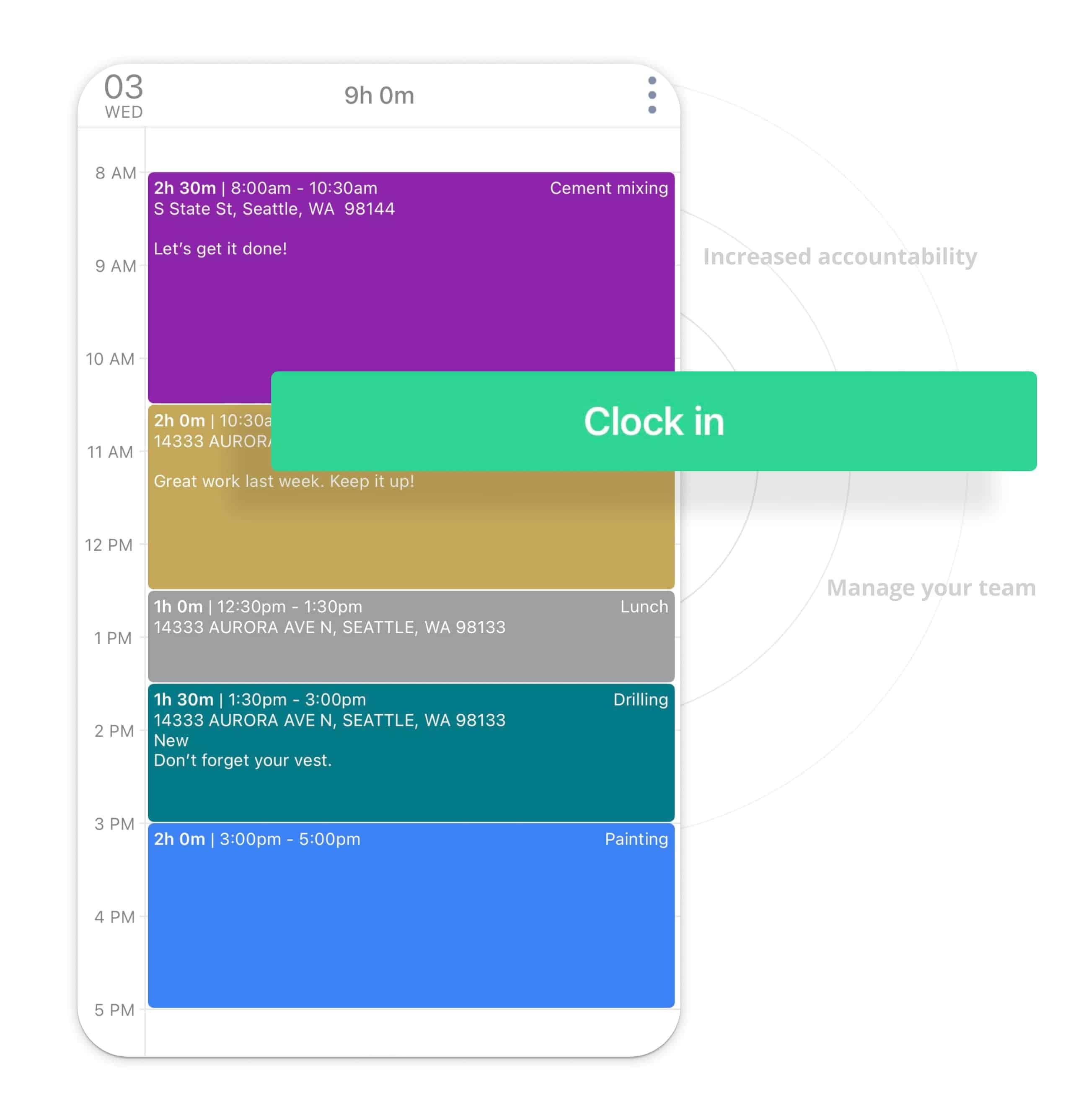 triplog time manage clock schedules