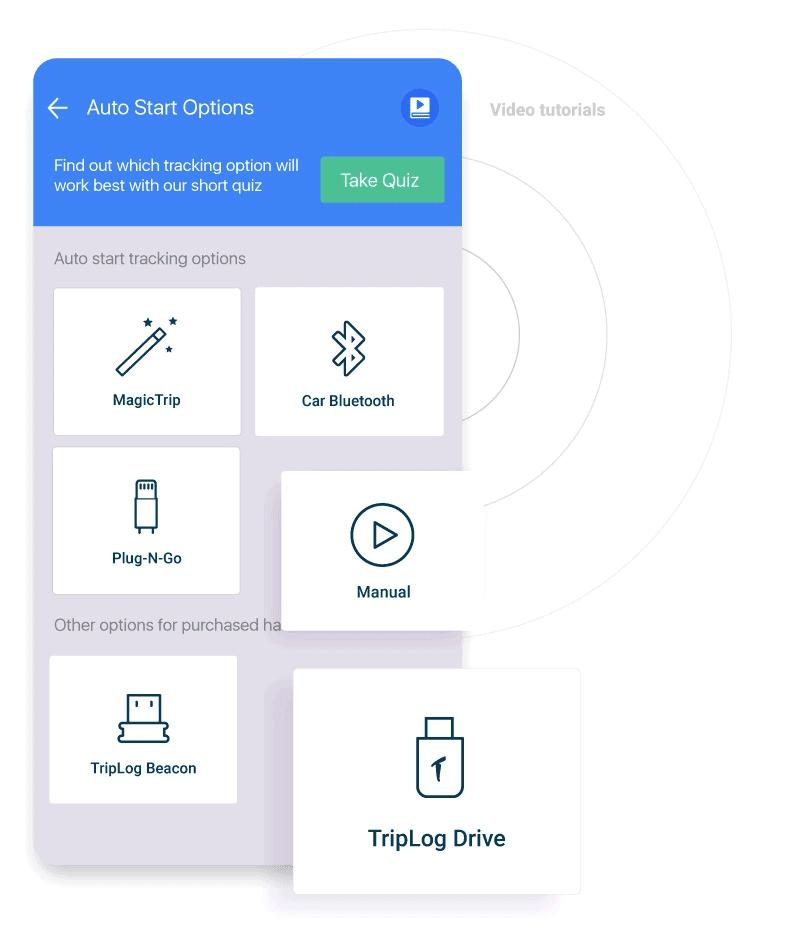 triplog auto start options gps track mileage automatically