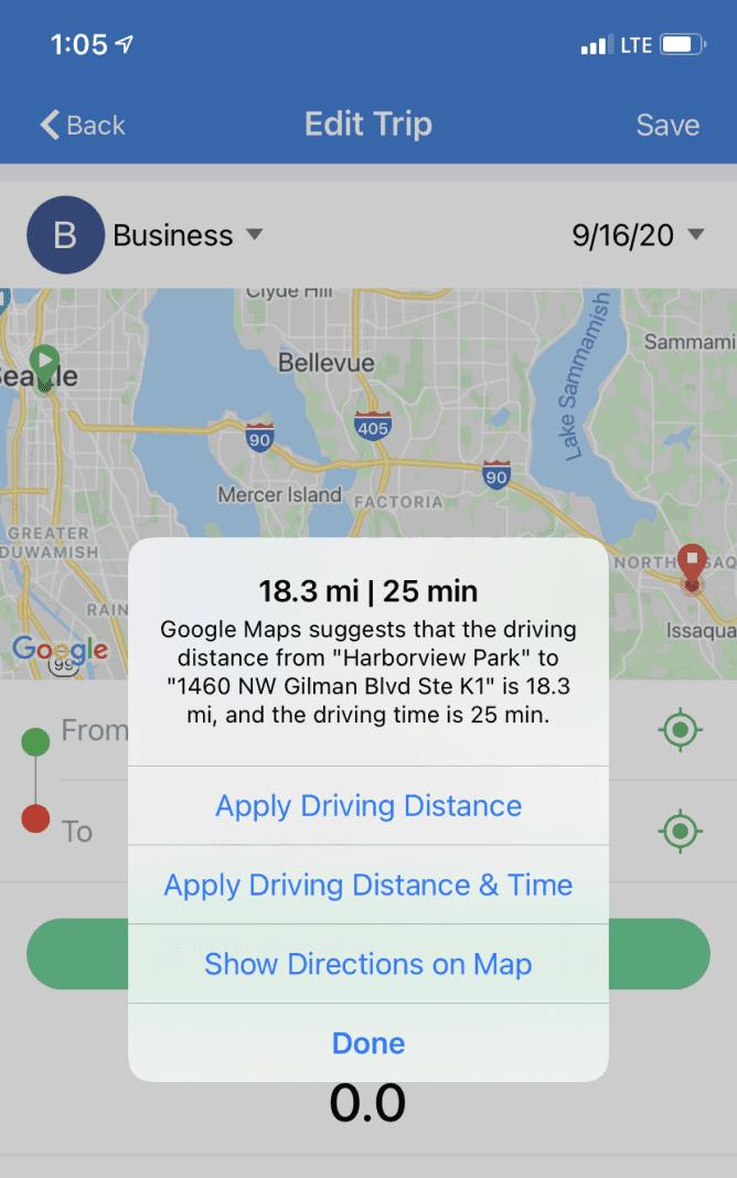 TripLog route planning