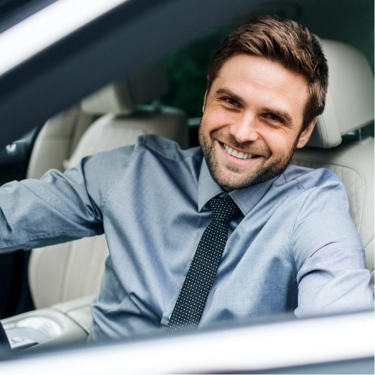 salesman exiting car track employee mileage
