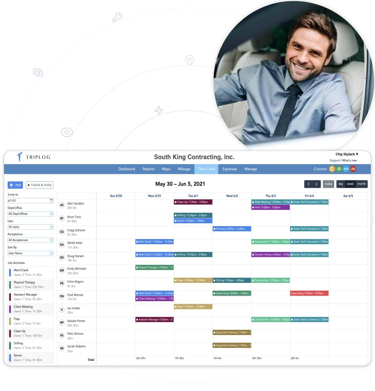 triplog schedule team members employees by day week or month